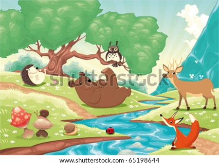 Animals in the wood. Cartoon and vector landscape, isolated objects. - stock vector