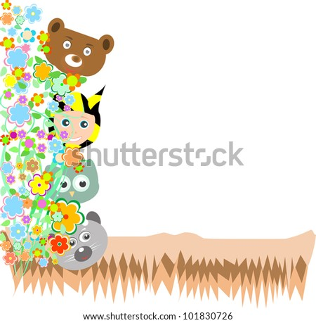 Animals in the wood. fum cartoon and vector landscape