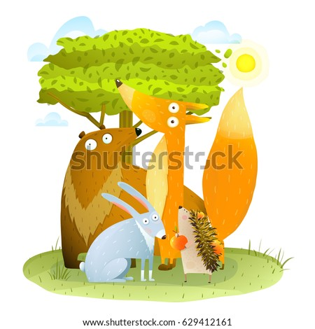 Animals in wild bear fox hedgehog rabbit in forest landscape. Summer sunny forest nature and cute colorful happy animals group baby illustration. Vector cartoon.