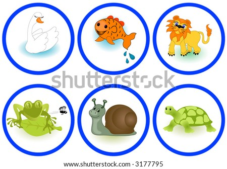 Animals including,swan,fish,lion,frog,snail and a turtle. Vector.