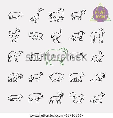 animals line icons set