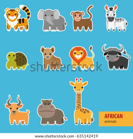 Animals of Africa. Cute animals set including monkey, giraffe, elephant, zebra, tiger, hyena, lion, hippopotamus, antelope, buffalo, turtle. Vector set of cartoon animals.