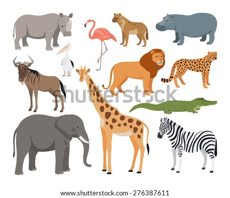 Animals of Africa vector set
