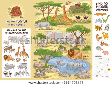 Animals of the African savannah. Find all animals in picture. Find where the turtle is hiding. Find 10 hidden objects in picture. Puzzle Hidden Items. Funny cartoon character. Vector illustration. Set