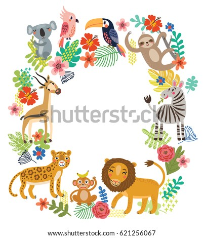 animals of the jungle  frame