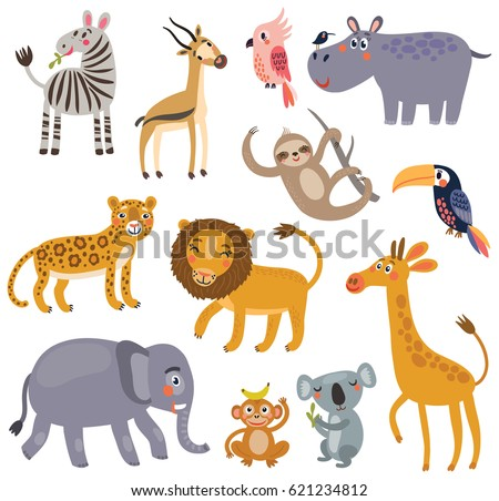 animals of the jungle vector