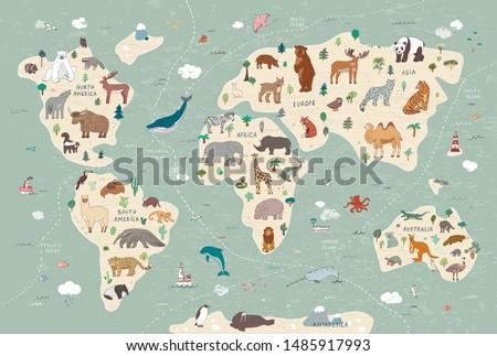 Animals of the world vector map hand drawn illustration