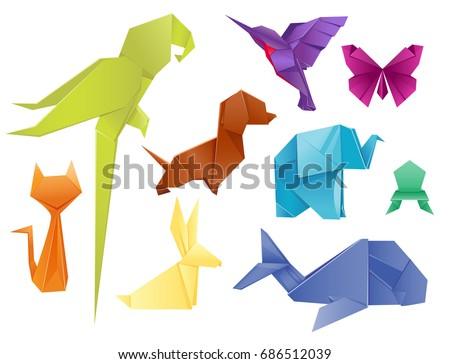 Animals Origami Set Japanese Folded Modern Wildlife Hobby Symbol Creative Decoration Vector Illustration