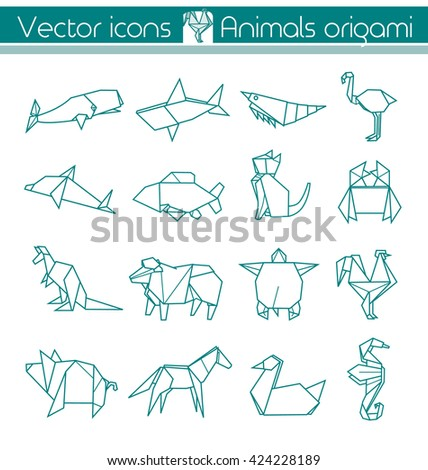 animals origami  vector icons
