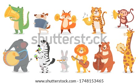 Animals play music. Cute animal playing music instruments, monkey plays trumpet and crocodile with saxophone vector illustration set. Cartoon animal play music, design drum instrument