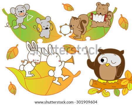 animals playing a musical
