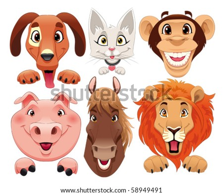 Animals portrait. Funny cartoon and vector isolated characters.