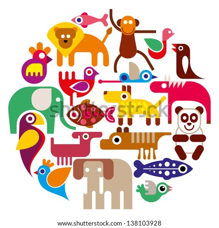 Animals - round vector illustration on white background