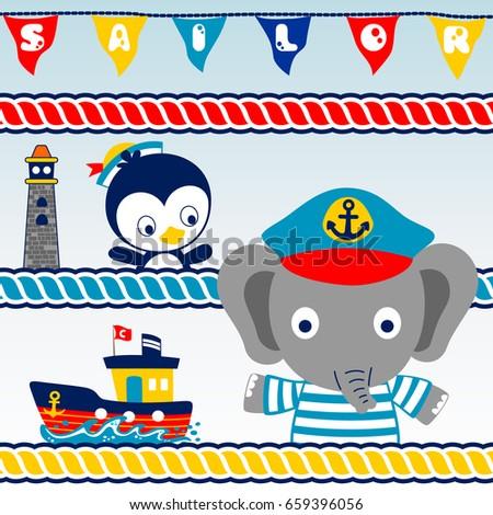 animals sailor team  vector