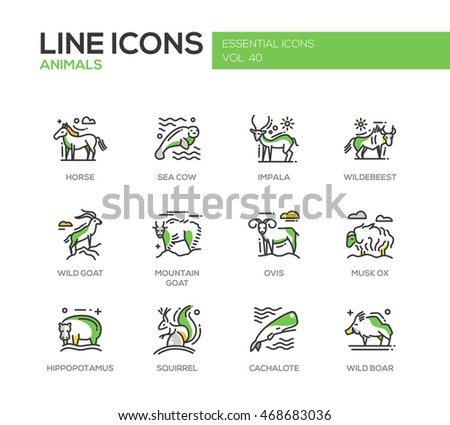 Animals - set of modern vector line design icons and pictograms. Horse, sea cow, impala, wildebeest, wild, mountain goat, ovis, musk ox, hippopotamus, squirrel, cachalote boar