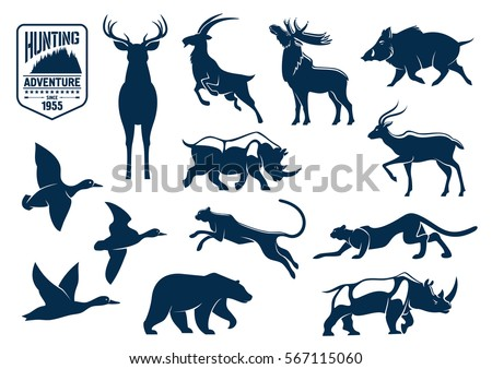 animals silhouette icons deer