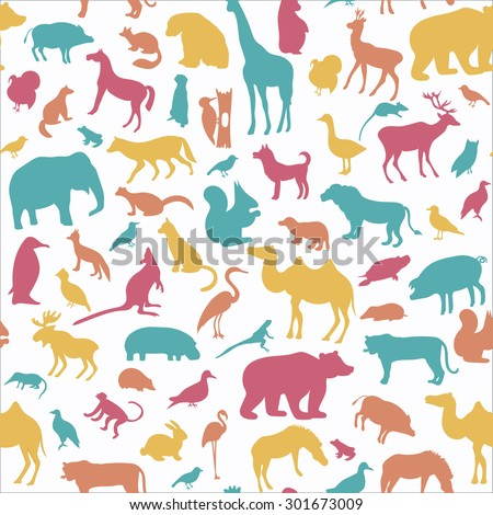 Animals silhouette seamless pattern.