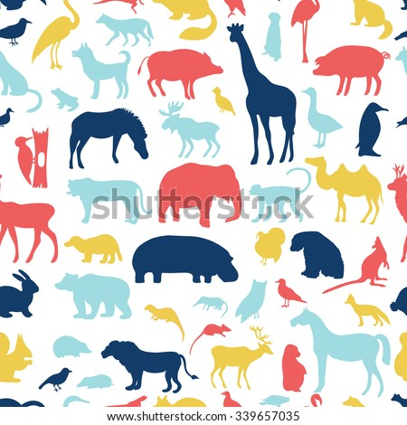 animals silhouette seamless