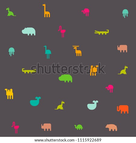 Animals silhouette seamless pattern. Geometric vector illustration flat design.