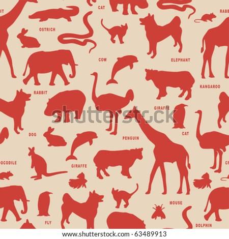 Animals silhouette vector pattern.