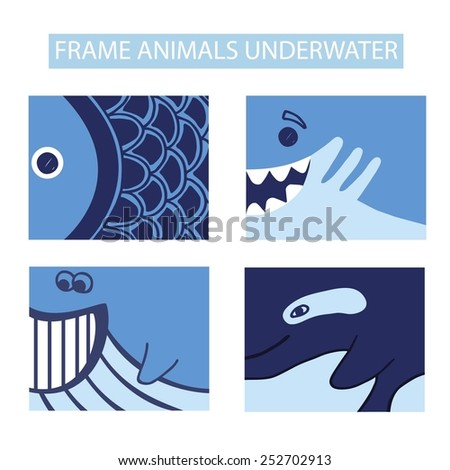 Animals underwater world set vector icons. Marine background.