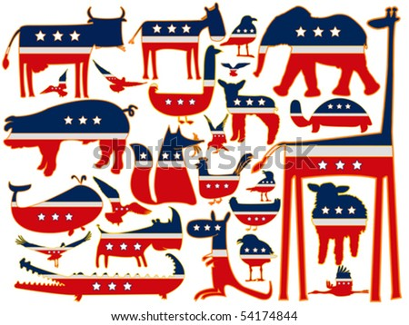 animals vector against white background, with stylized american flag; abstract vector art illustration