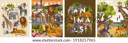 Animals. Vector flat illustrations of giraffe, elephant, monkey, tiger, lion, zebra, eagle, tree, savanna. African flora and fauna drawings for poster or background Foto d'archivio ©