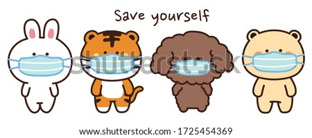 Animals wearing face mask protection from dust and virus in cartoon style on white background.Character design.Rabbit,tiger,dog,bear doodle.Covid-19.Coronavirus.Kawaii.Banner.Vector.Illustration.