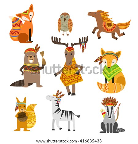 animals wearing tribal clothing