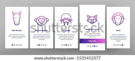 Animals Wild And Farm Onboarding Mobile App Page Screen Vector Thin Line. Bear And Rabbit, Pig And Cow, Elephant And Lion, Monkey And Horse Animals Concept Linear Pictograms. Illustrations