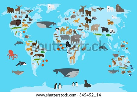 animals world map animals living in different parts of the planet guide vector illustration