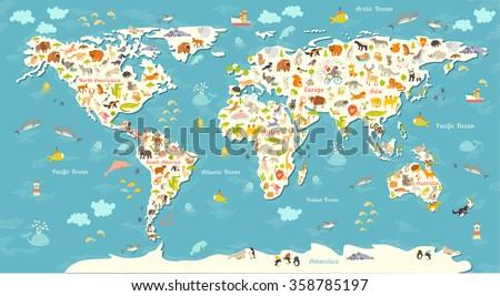 animals world map beautiful