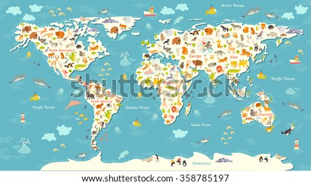 Animals world map. Beautiful cheerful colorful vector illustration for children, kids. Inscription of the oceans and continents. Eurasia, Africa, Australia, North America and South America continents