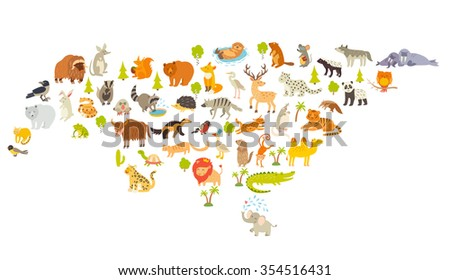 animals world map  eurasia
