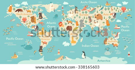 stock vector animals world map for children kids animals poster continent animals sea life south america 338165603 - Каталог — Фотообои «Для детской»