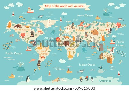 Animals World Map For Kid Vector Poster Children Cute Illustrated Continents