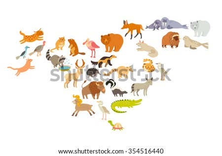 animals world map  north