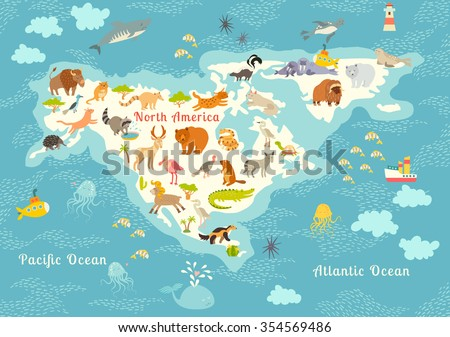 animals world map  north