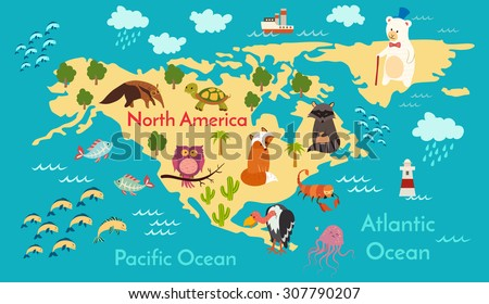 Royalty free animals world map north america north 338164241 animals world map north america vector illustration preschool baby continents gumiabroncs Images