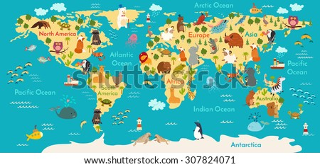 animals world map vector