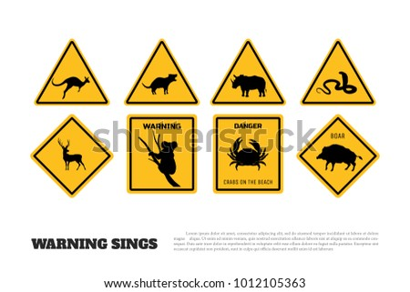 animals yellow warning signs