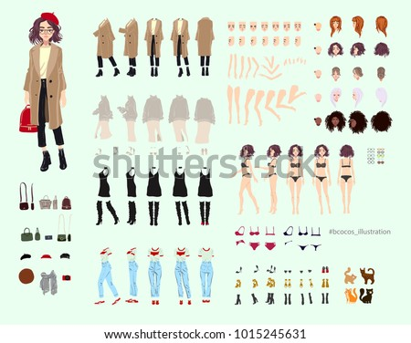 Animate character. Young lady personage constructor. Different woman postures, hairstyle, face, legs, hands, clothes, accessories collection. Vector cartoon person.