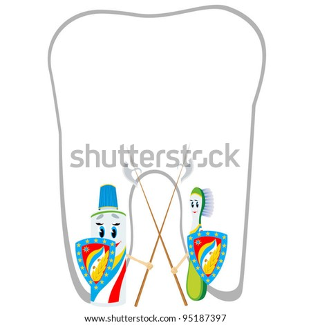 Animated abstract toothbrush and tube of toothpaste stand on the protection of the health of your teeth.