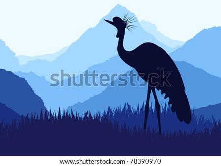 Animated crane in wild nature landscape illustration