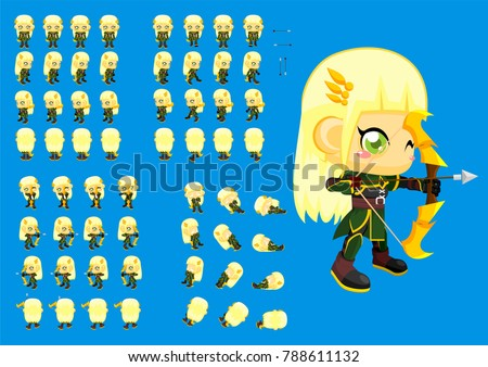 animated cute girl archer