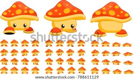 animated cute mushroom creature