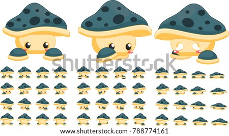 animated cute mushroom creature