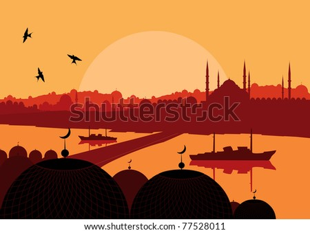 Animated magic Turkish city Istanbul landscape illustration