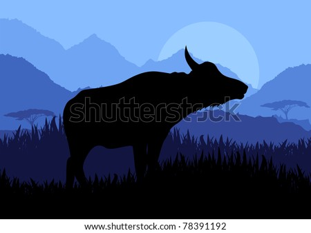 Animated water buffalo in wild nature landscape illustration
