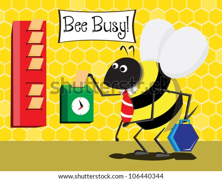 Animated worker bee punching in his card to start his work. Simple gradients. - stock vector